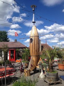 Heitere Fahne with a wooden rocket sculpture